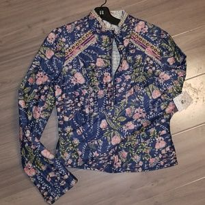 Free People Jacket Moto Quilted Floral